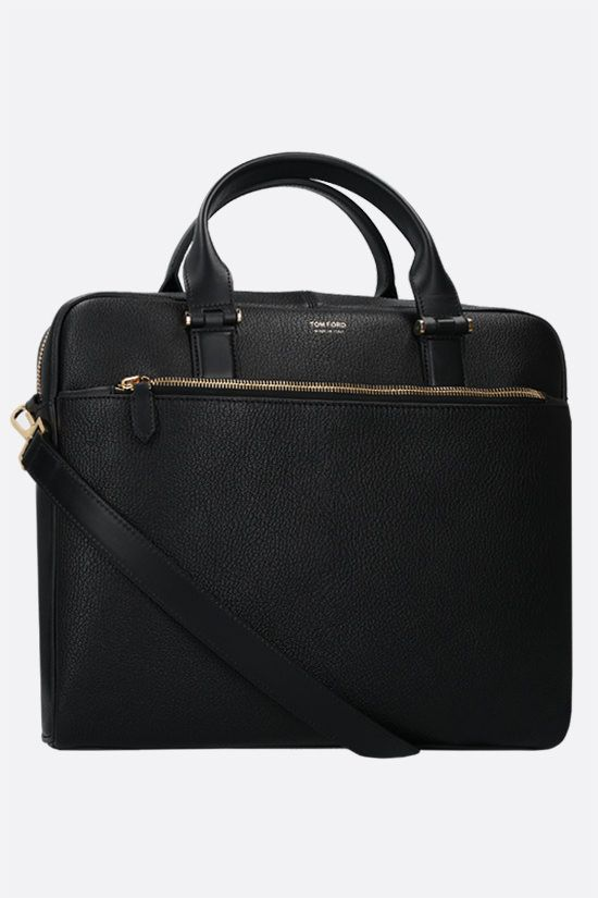 TOM FORD: grainy leather business bag Color Black_2
