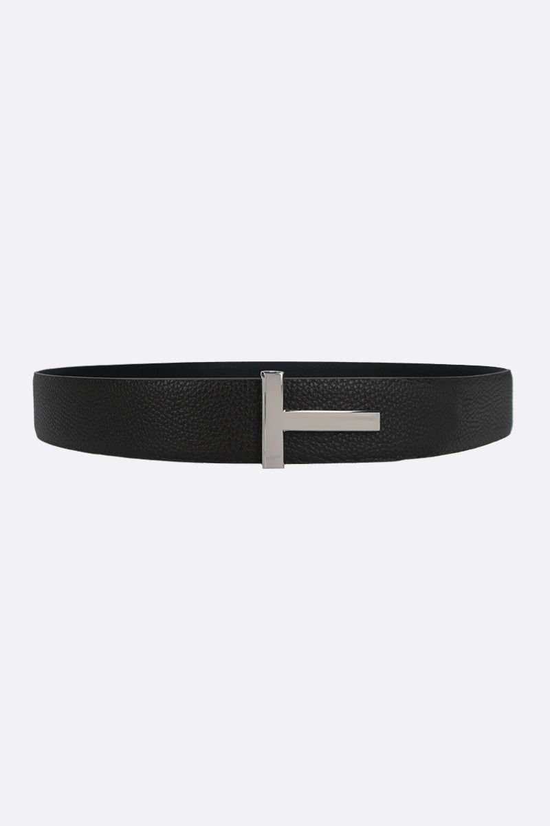 TOM FORD: T-Icon grainy leather reversible belt_1