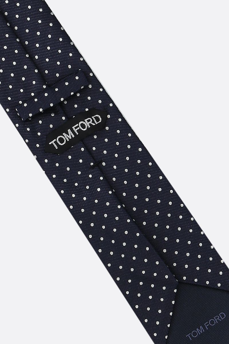 TOM FORD: cravatta in seta a pois Colore Blu_2