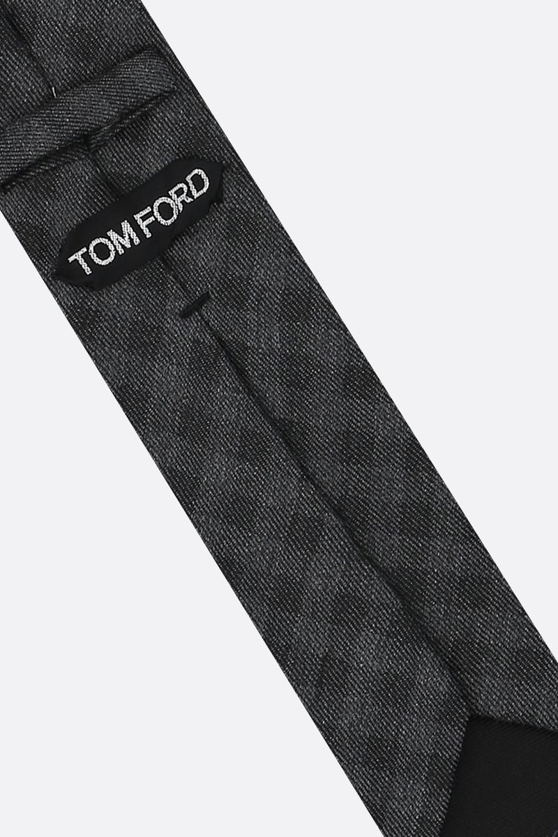 TOM FORD: check silk cashmere blend tie Color Grey_2