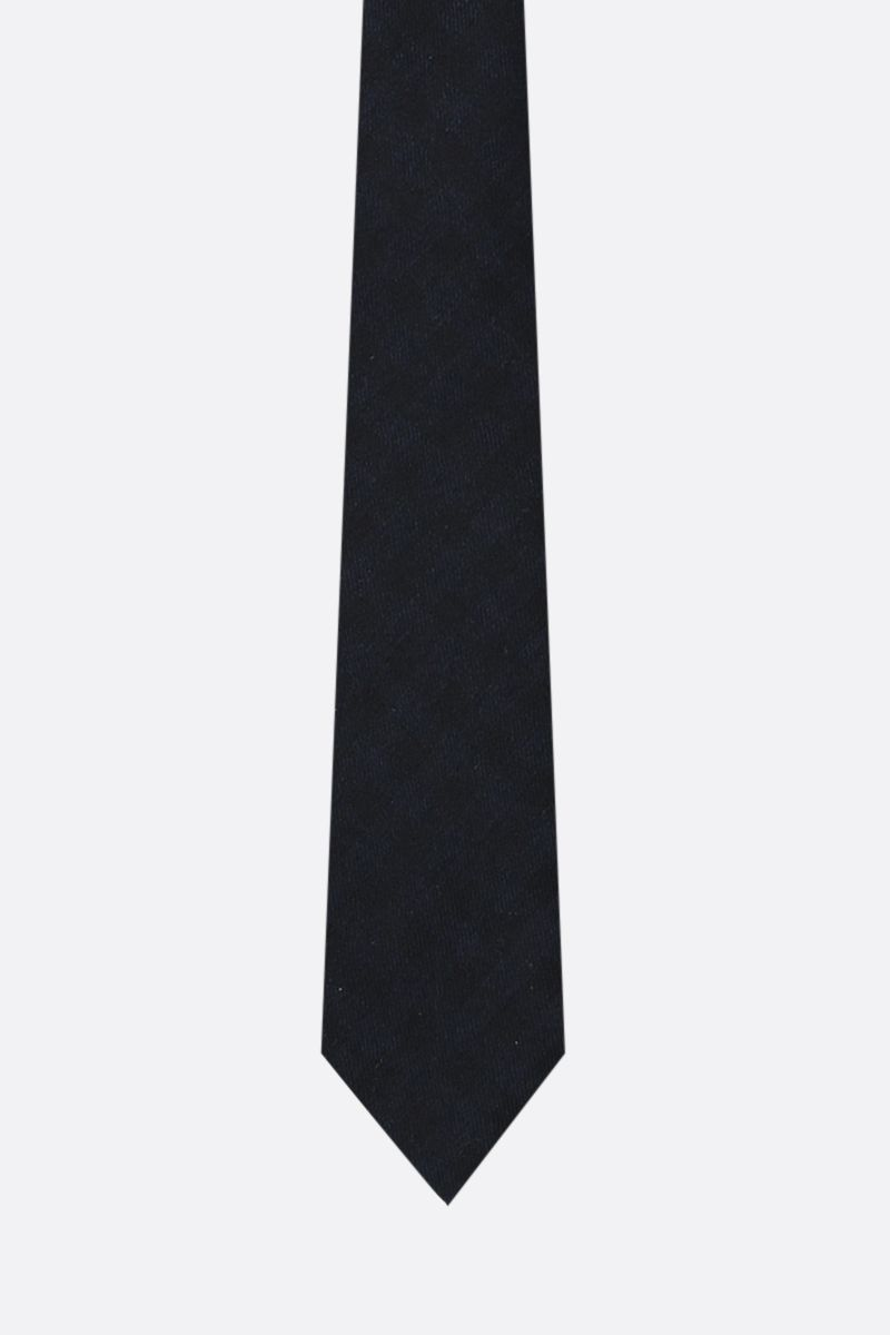 TOM FORD: check silk cashmere blend tie Color Blue_1
