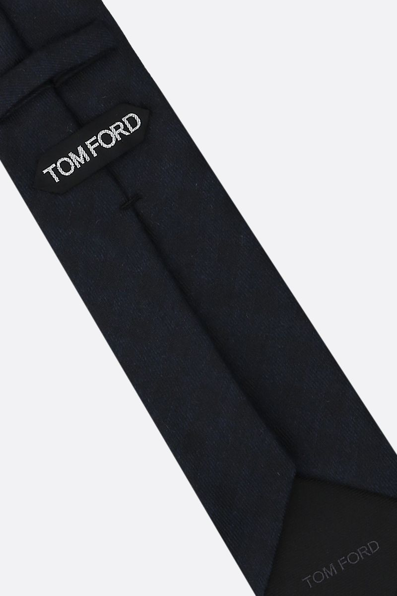 TOM FORD: check silk cashmere blend tie Color Blue_2