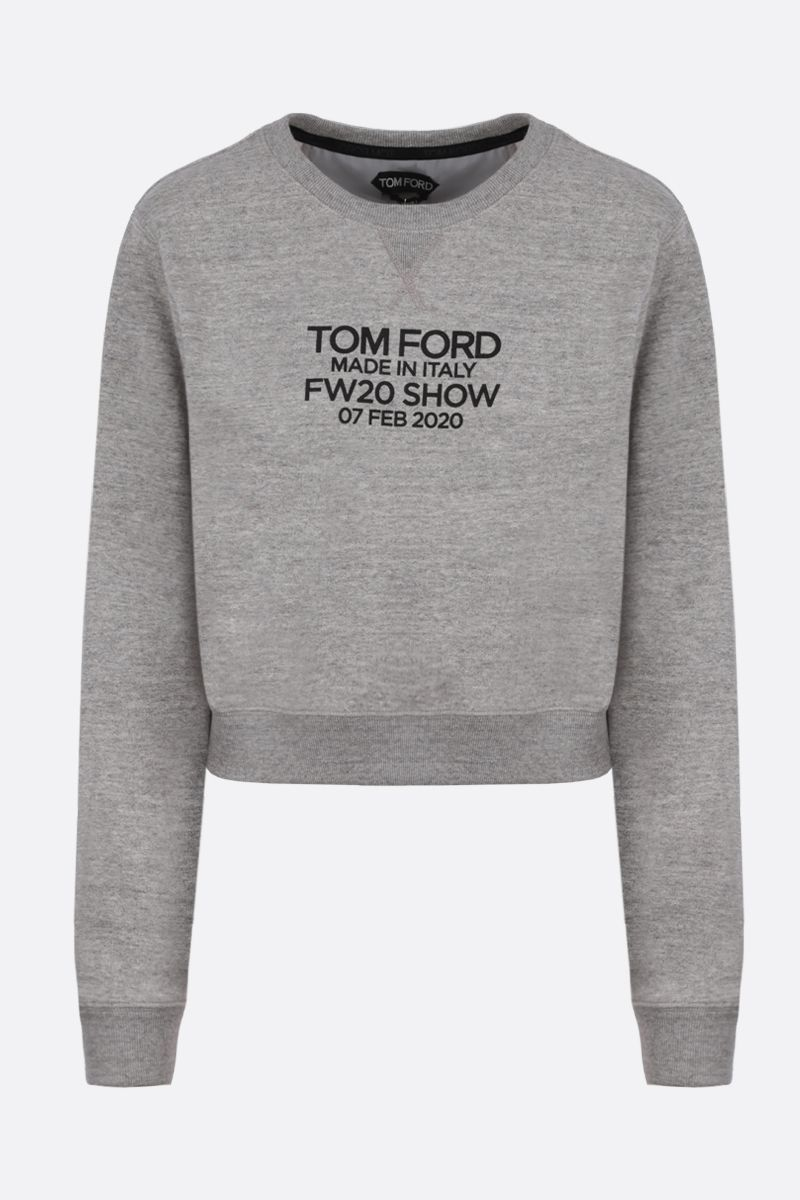 TOM FORD: Tom Ford print cotton cropped sweatshirt Color Grey_1