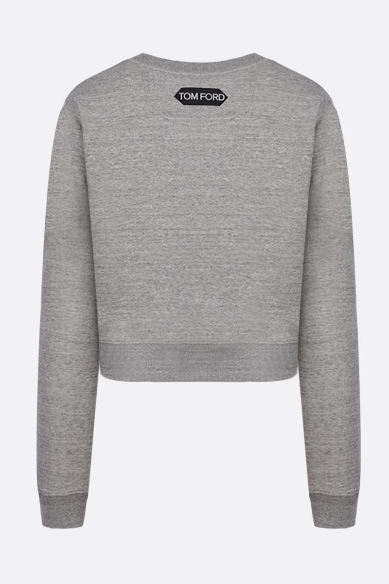 TOM FORD: Tom Ford print cotton cropped sweatshirt Color Grey_2