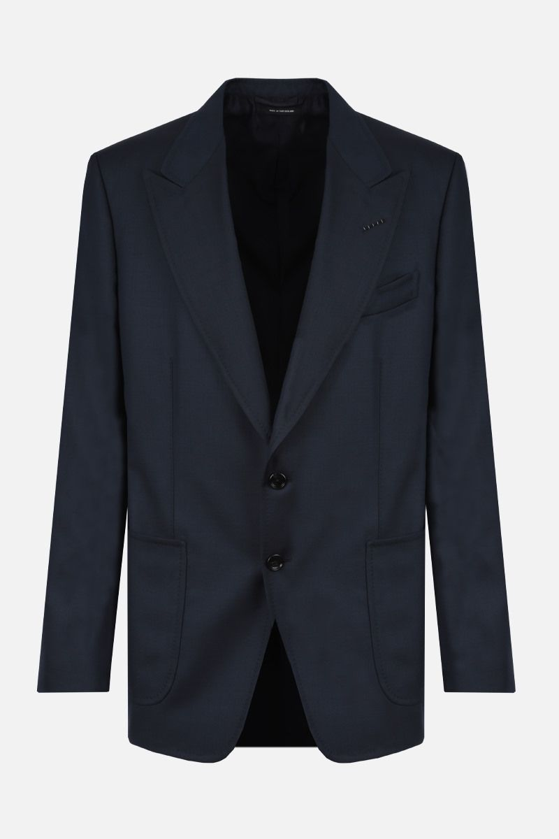TOM FORD: Shelton wool single-breasted jacket Color Blue_1