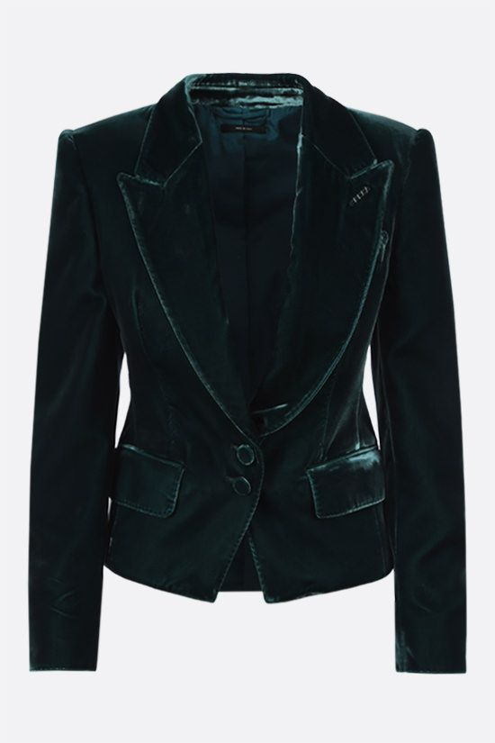 TOM FORD: single-breasted soft velvet jacket Color Green_1