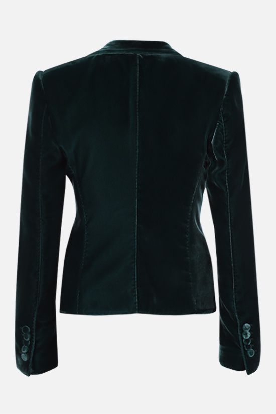 TOM FORD: single-breasted soft velvet jacket Color Green_2