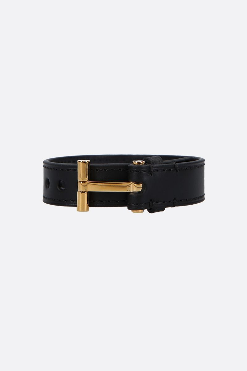 TOM FORD: T smooth leather bracelet Color Black_1