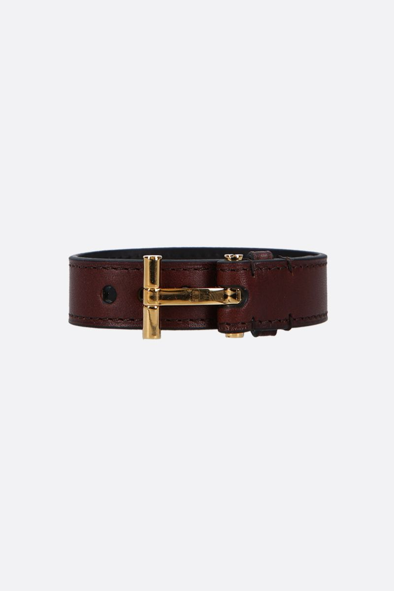 TOM FORD: T smooth leather bracelet Color Brown_1