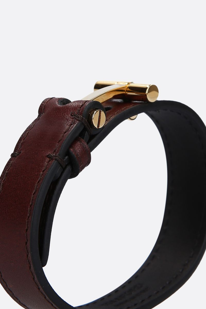 TOM FORD: T smooth leather bracelet Color Brown_2