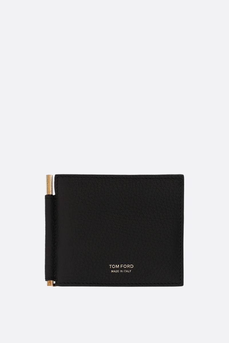 TOM FORD: grainy leather money-clip wallet Color Black_1