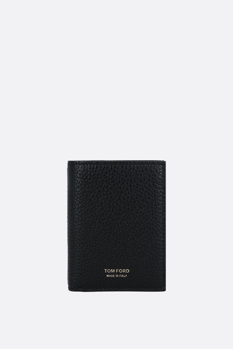 TOM FORD: grainy leather mini billfold wallet Color Black_1