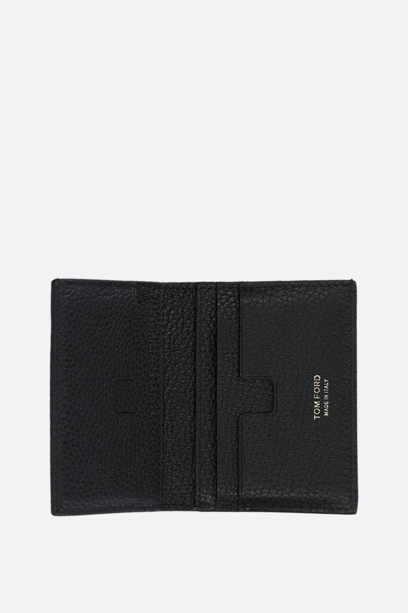 TOM FORD: grainy leather mini billfold wallet Color Black_2