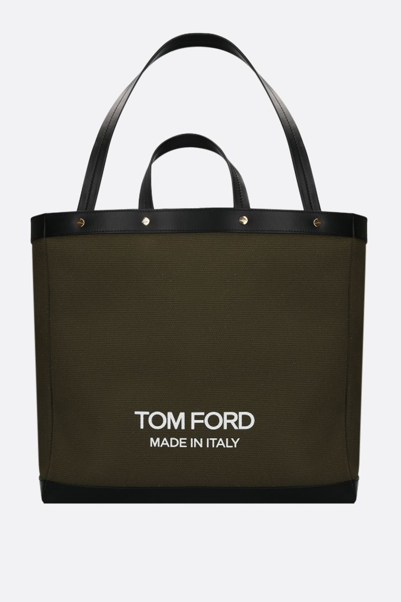 TOM FORD: T Screw oversize canvas tote bag Color Green_1