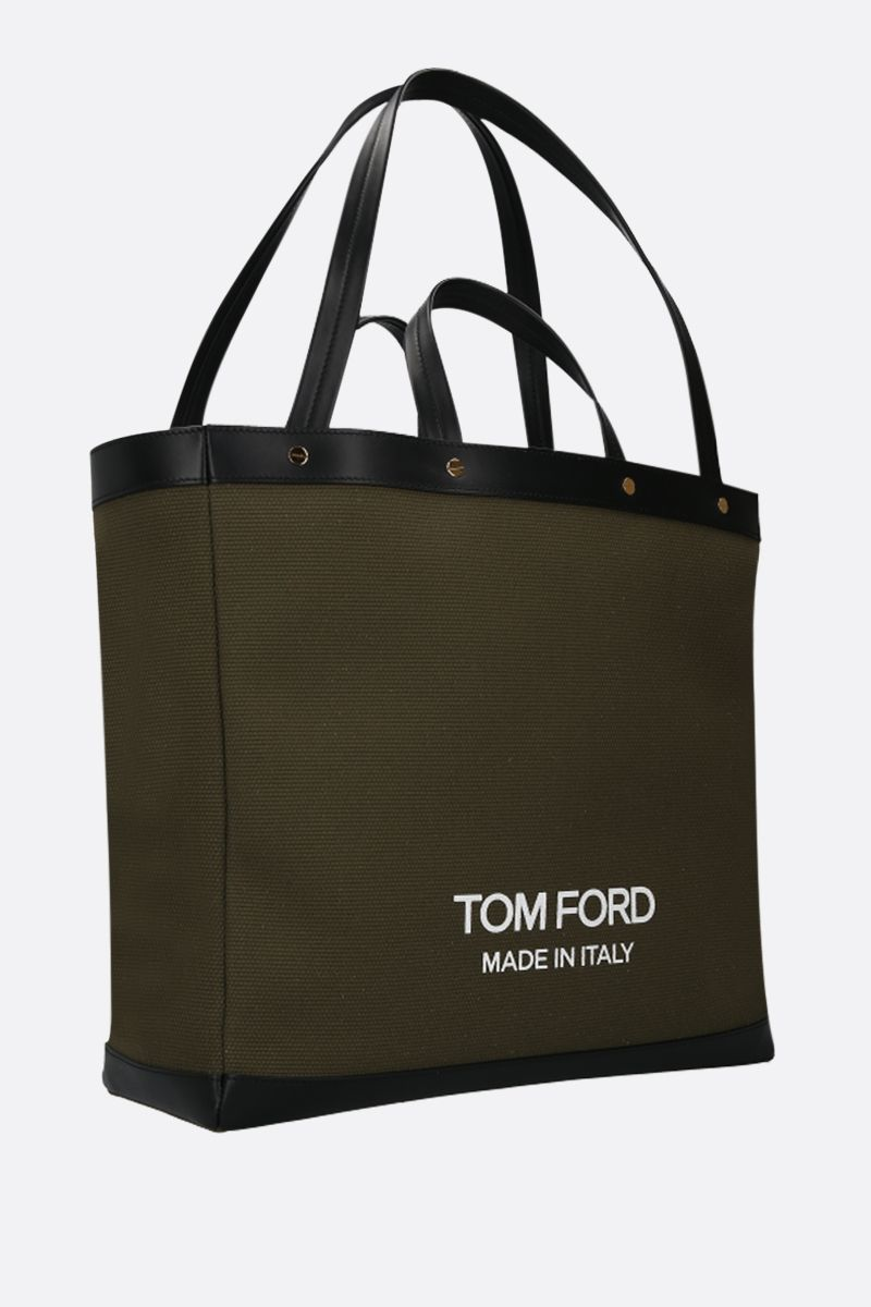 TOM FORD: T Screw oversize canvas tote bag Color Green_2