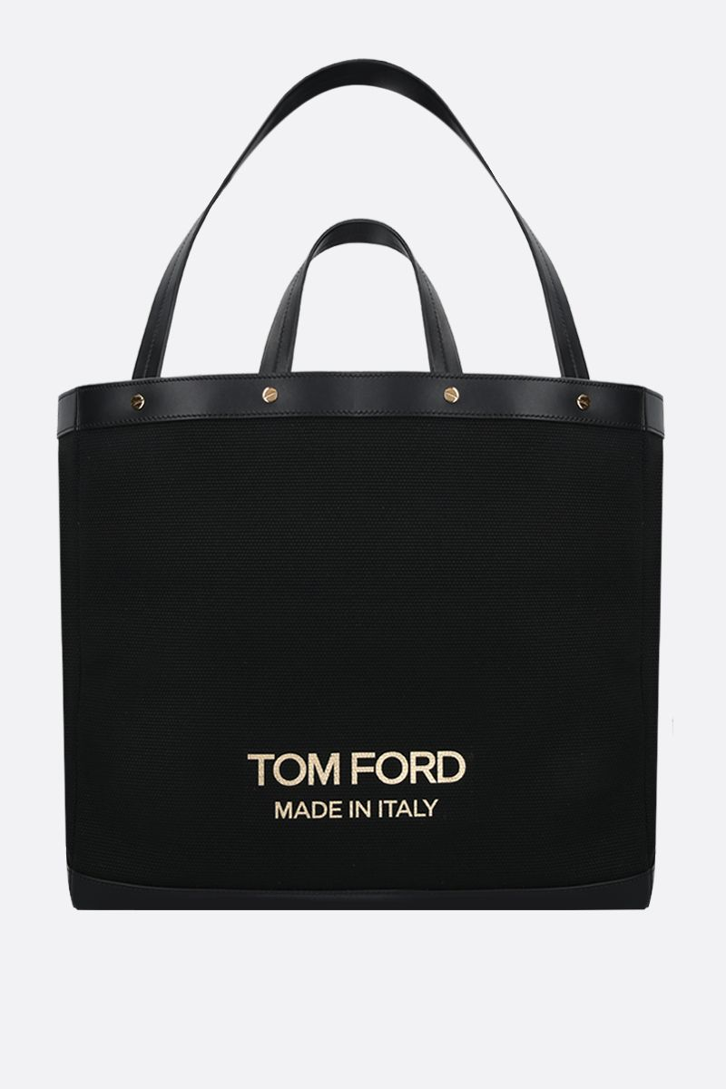 TOM FORD: T Screw oversize canvas tote bag Color Black_1