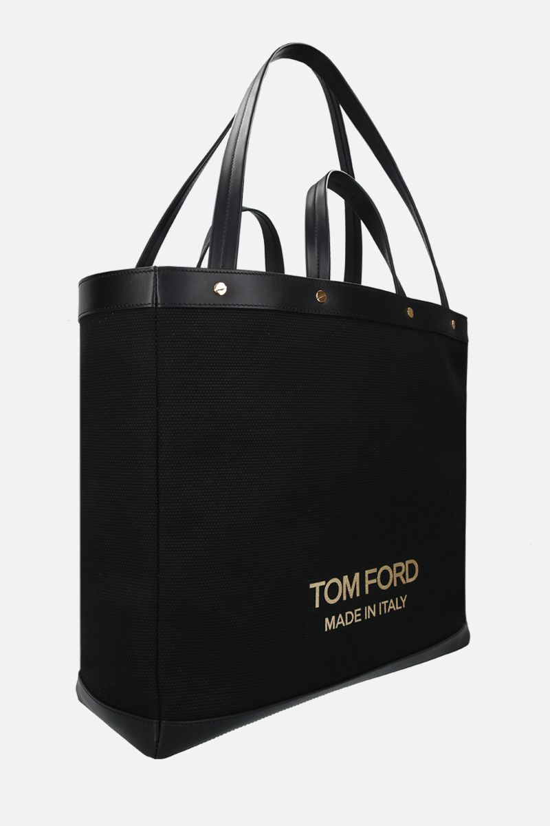 TOM FORD: T Screw oversize canvas tote bag Color Black_2