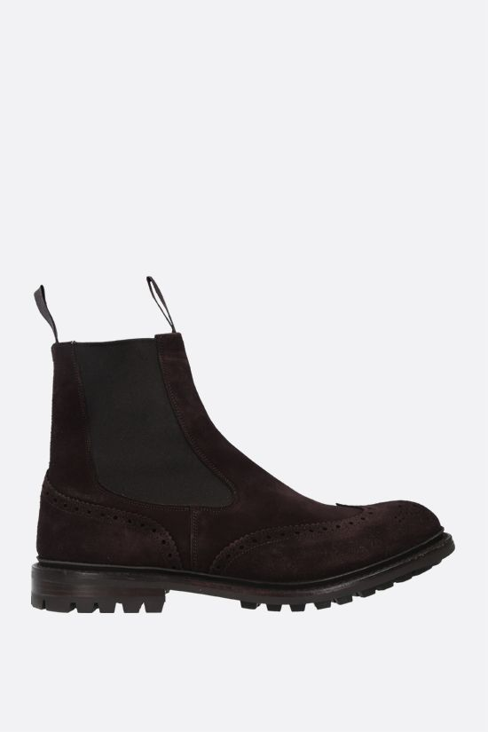 TRICKER'S: Henry velvet suede chelsea boots Color Brown_1