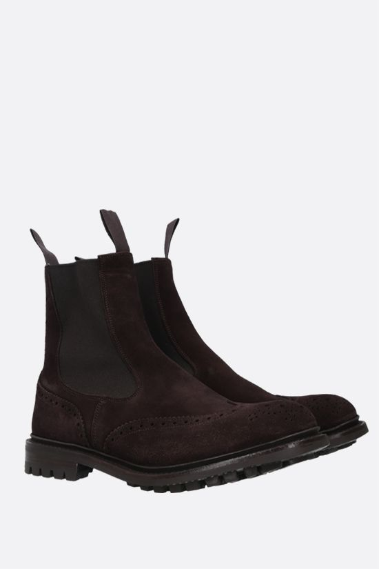 TRICKER'S: Henry velvet suede chelsea boots Color Brown_2