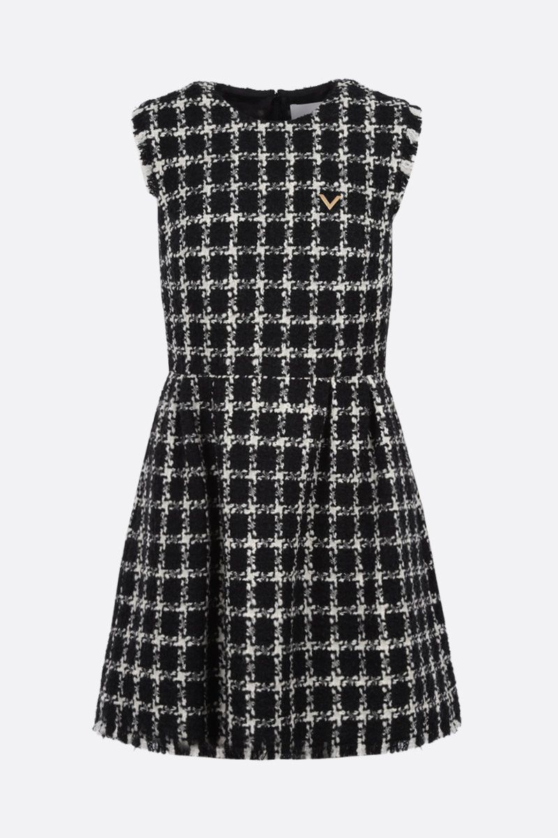 VALENTINO: overcheck tweed sleeveless minidress Color Black_1