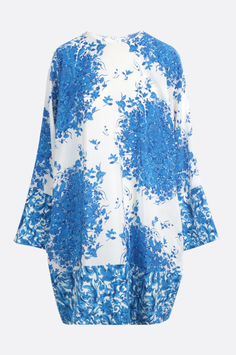 VALENTINO: Bluegrace print crepe de chine short dress Color Neutral_1