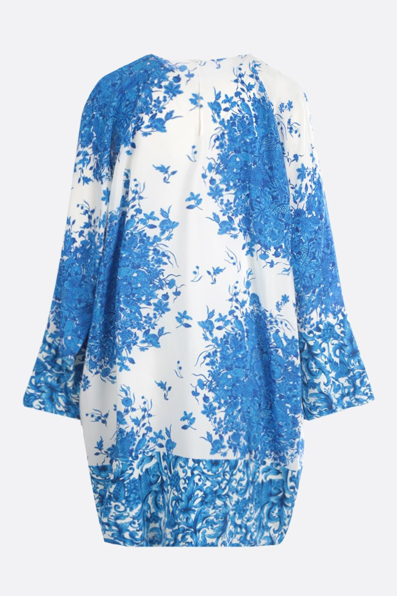 VALENTINO: Bluegrace print crepe de chine short dress Color Neutral_2
