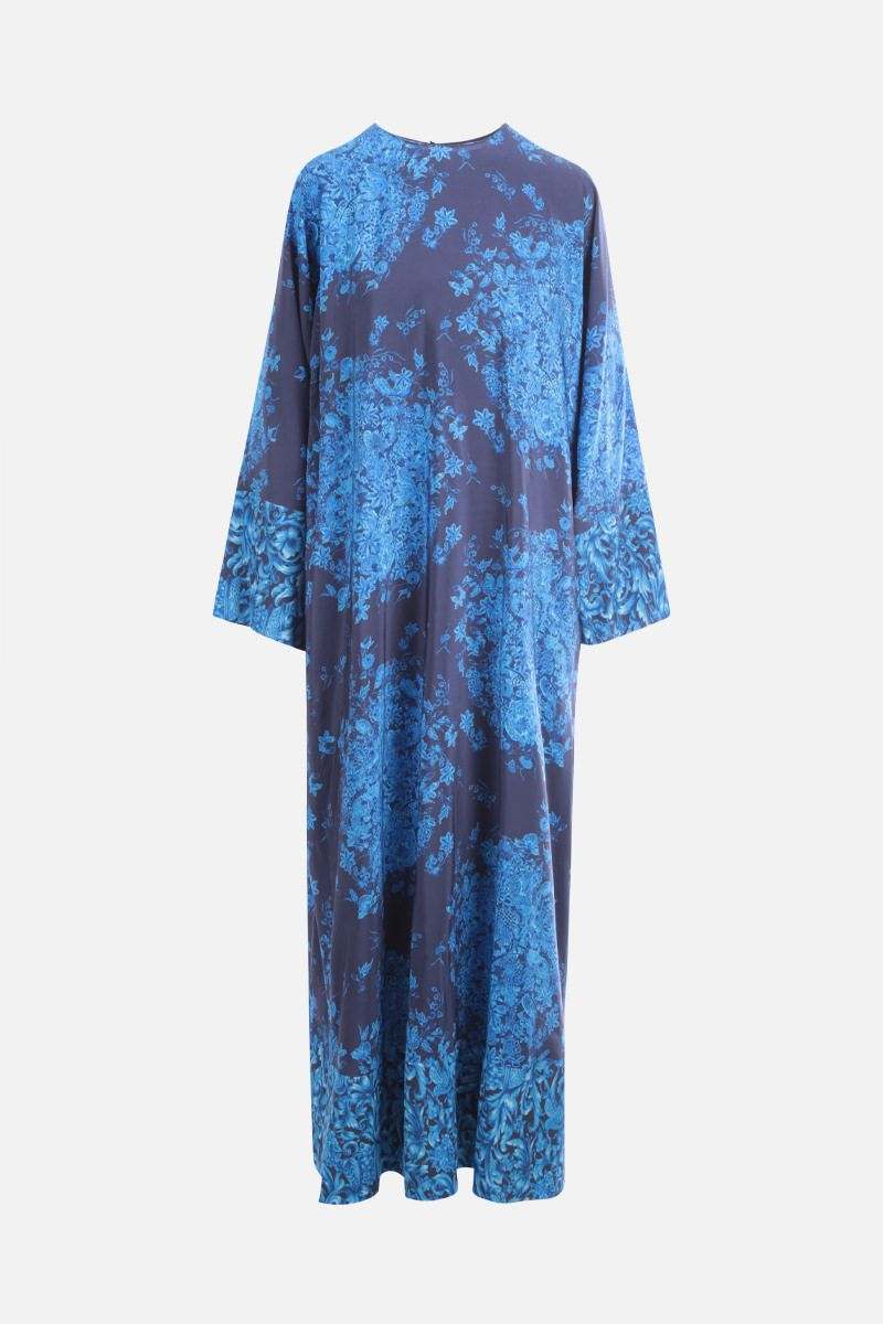 VALENTINO: Bluegrace print crepe de chine long dress Color Multicolor_1