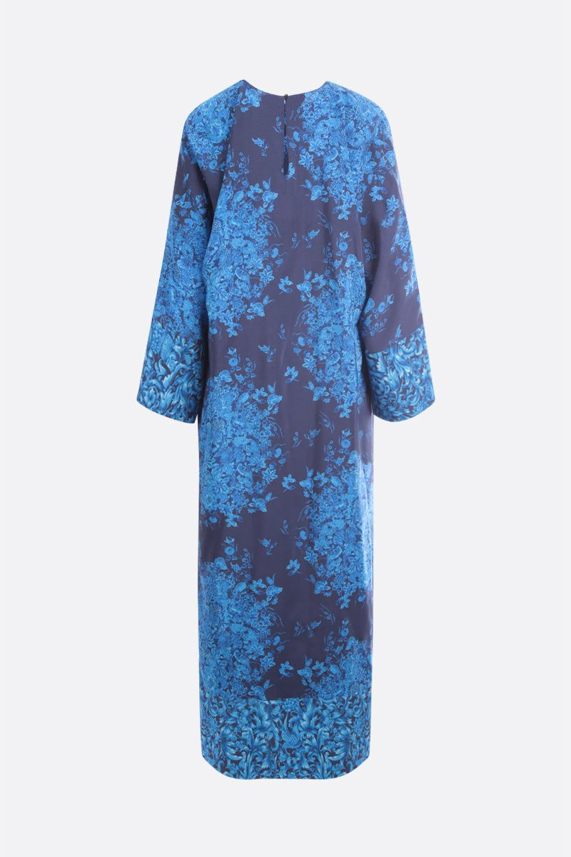 VALENTINO: Bluegrace print crepe de chine long dress Color Multicolor_2