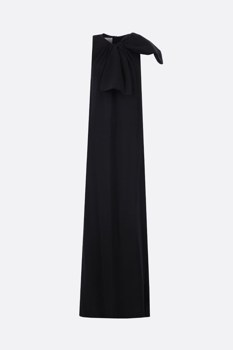 VALENTINO: bow-detailed cady sleeveless dress Color Black_1