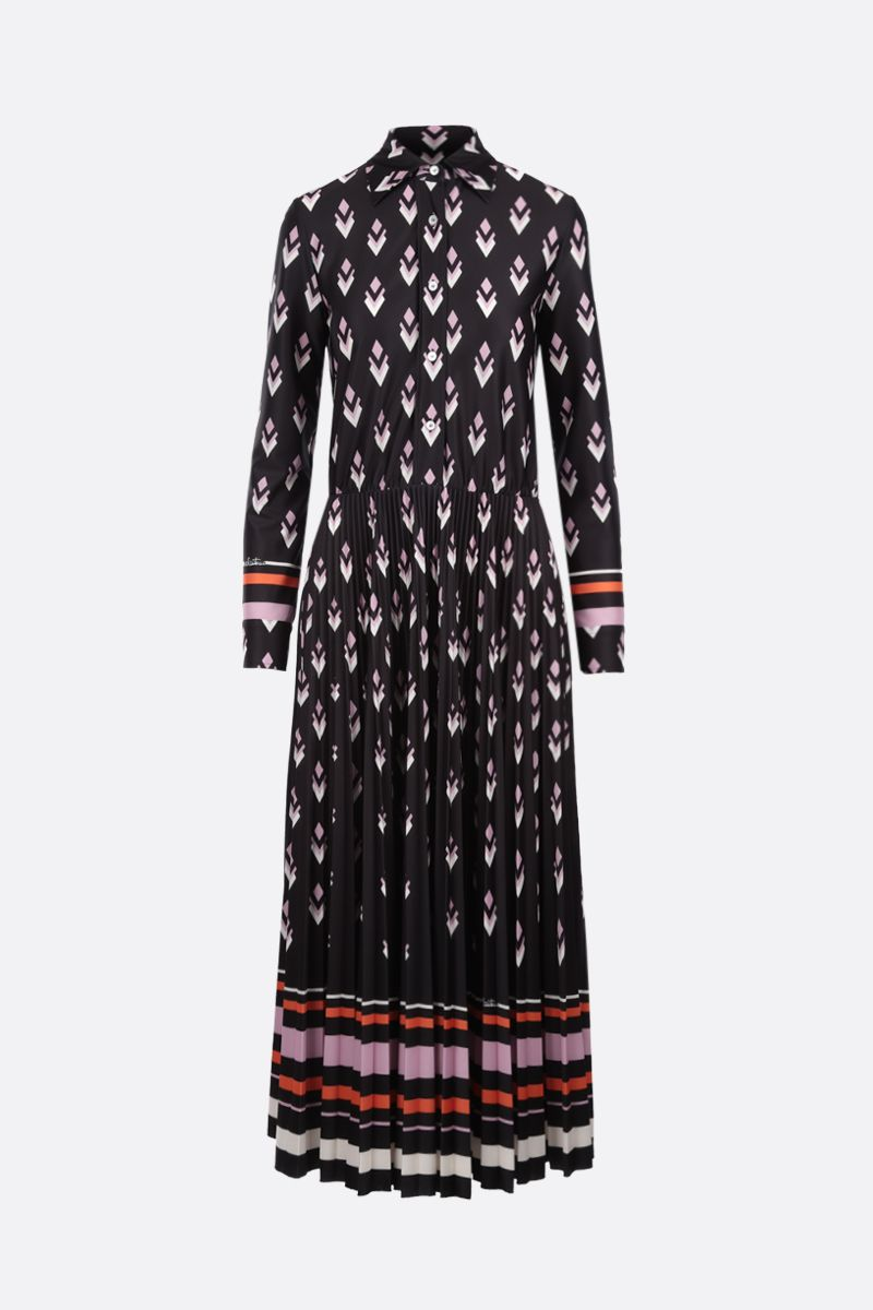 VALENTINO: Logo Remake print jersey long dress Color Black_1