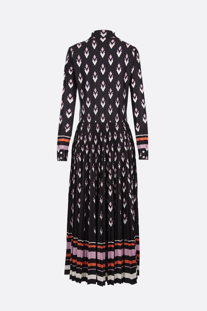 VALENTINO: Logo Remake print jersey long dress Color Black_2