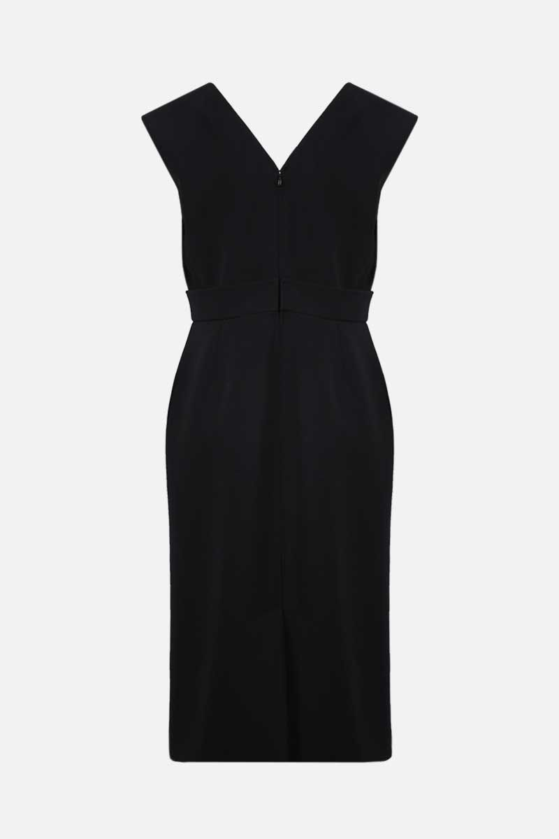VALENTINO: V-detailed cady sleeveless dress Color Black_2