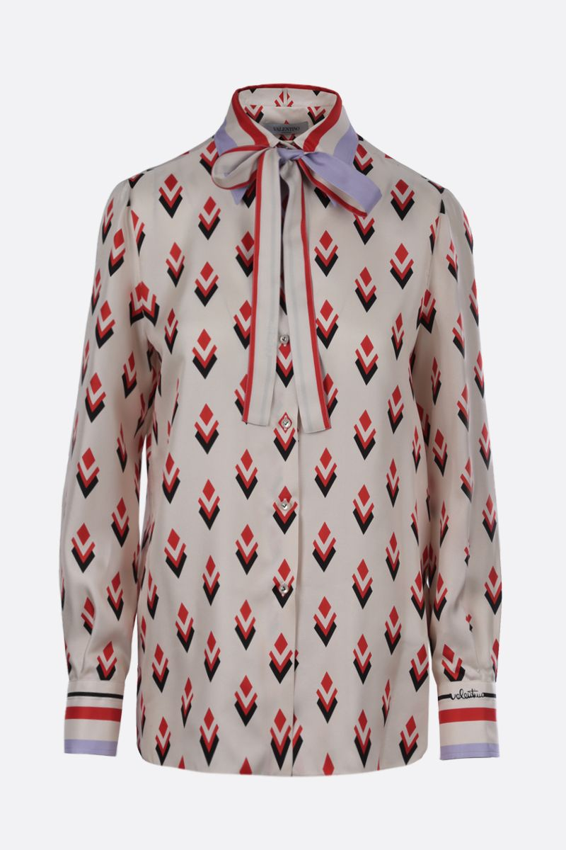 VALENTINO: Logo Remake print silk shirt Color Multicolor_1