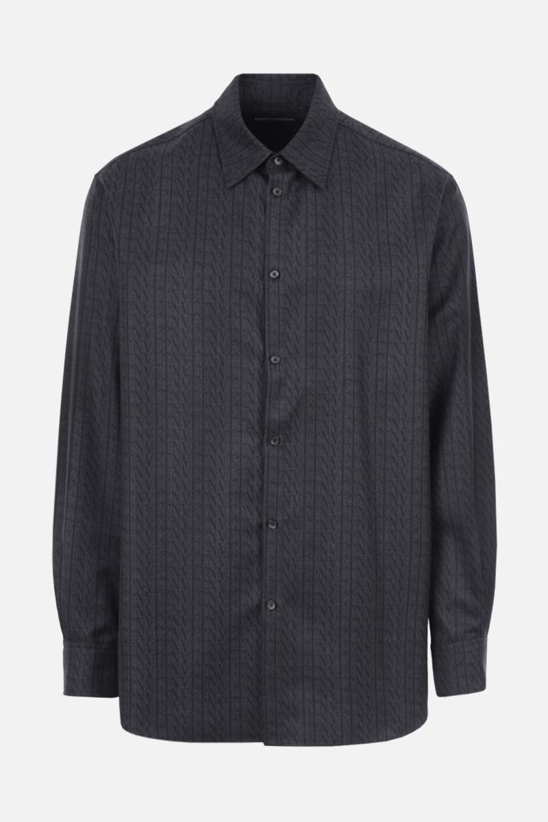 VALENTINO: VLTN TIMES print oversized wool shirt Color Grey_1