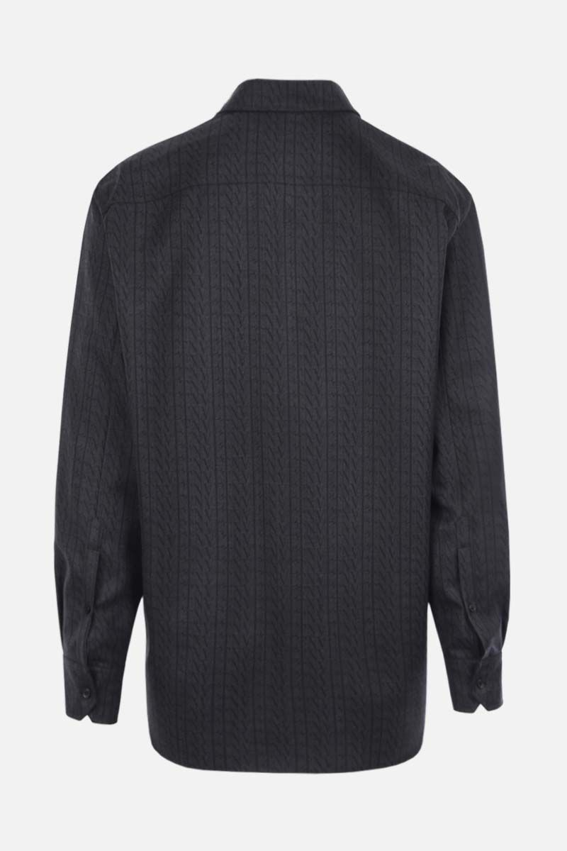 VALENTINO: VLTN TIMES print oversized wool shirt Color Grey_2