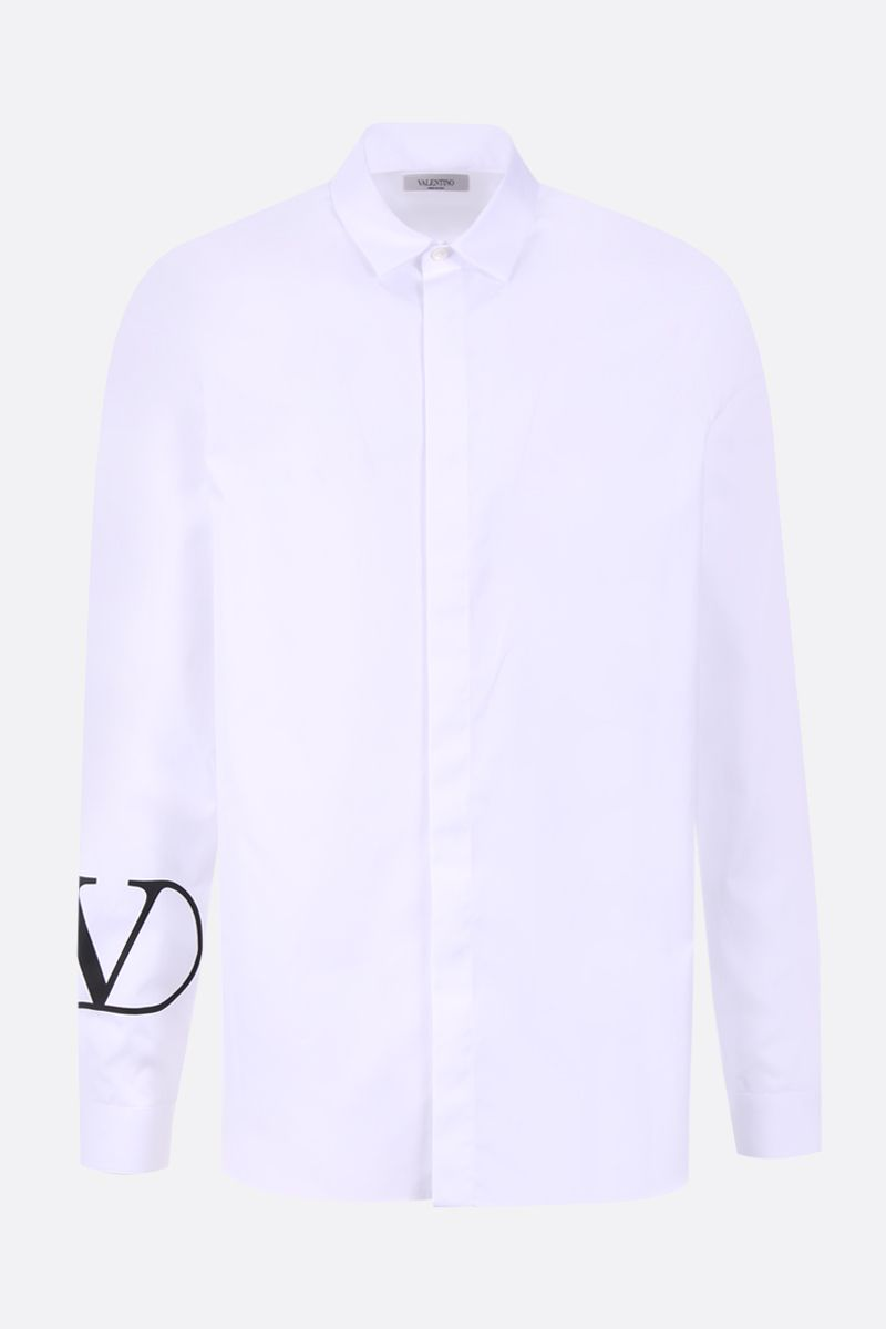 VALENTINO: VLOGO print cotton poplin shirt Color White_1