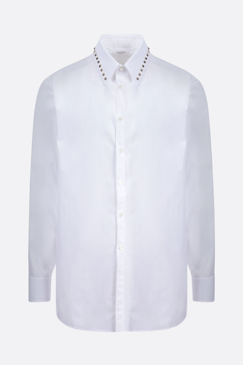 VALENTINO: Rockstud Untitled cotton shirt Color White_1