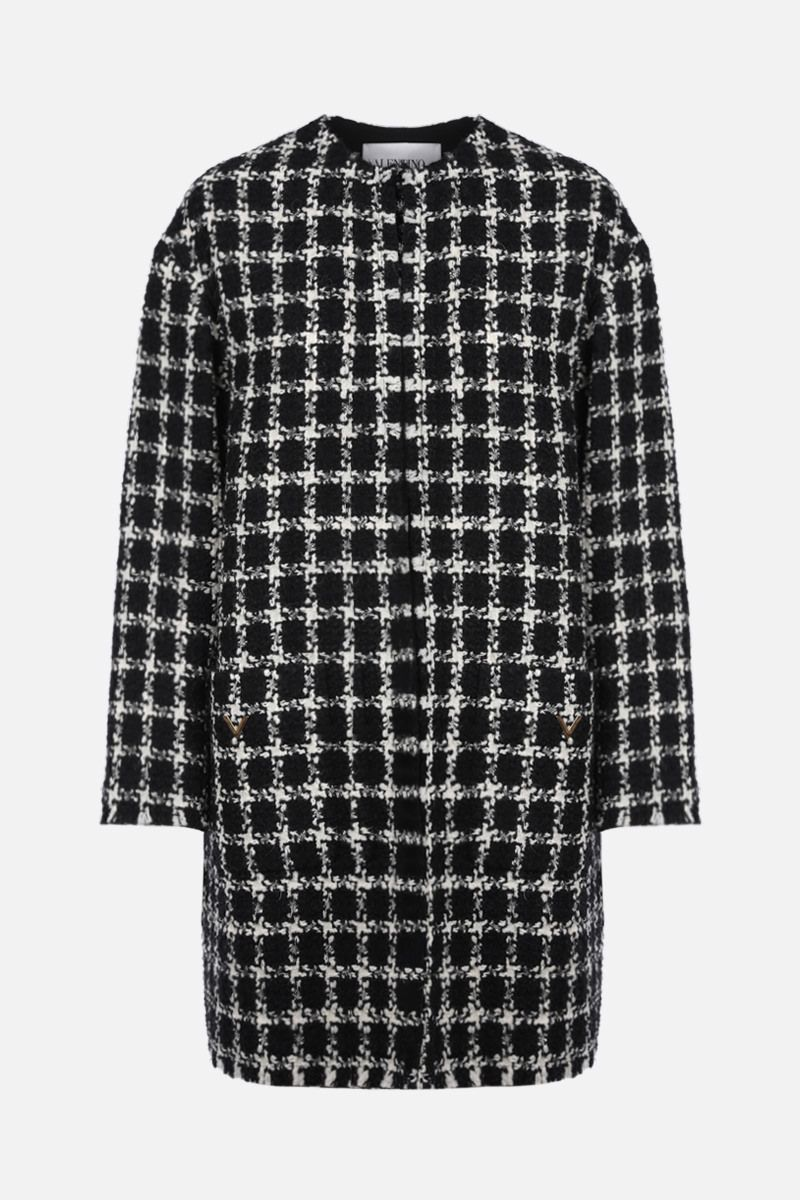 VALENTINO: overcheck tweed single-breasted coat Color Black_1