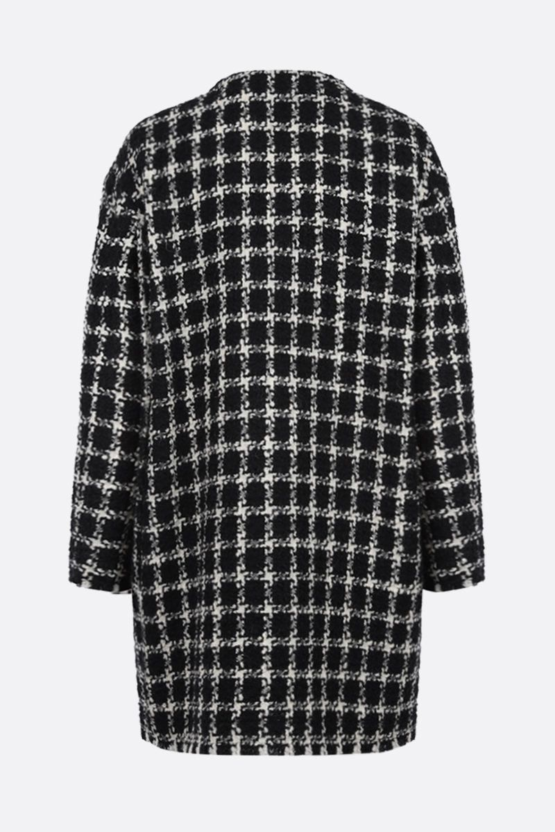 VALENTINO: overcheck tweed single-breasted coat Color Black_2