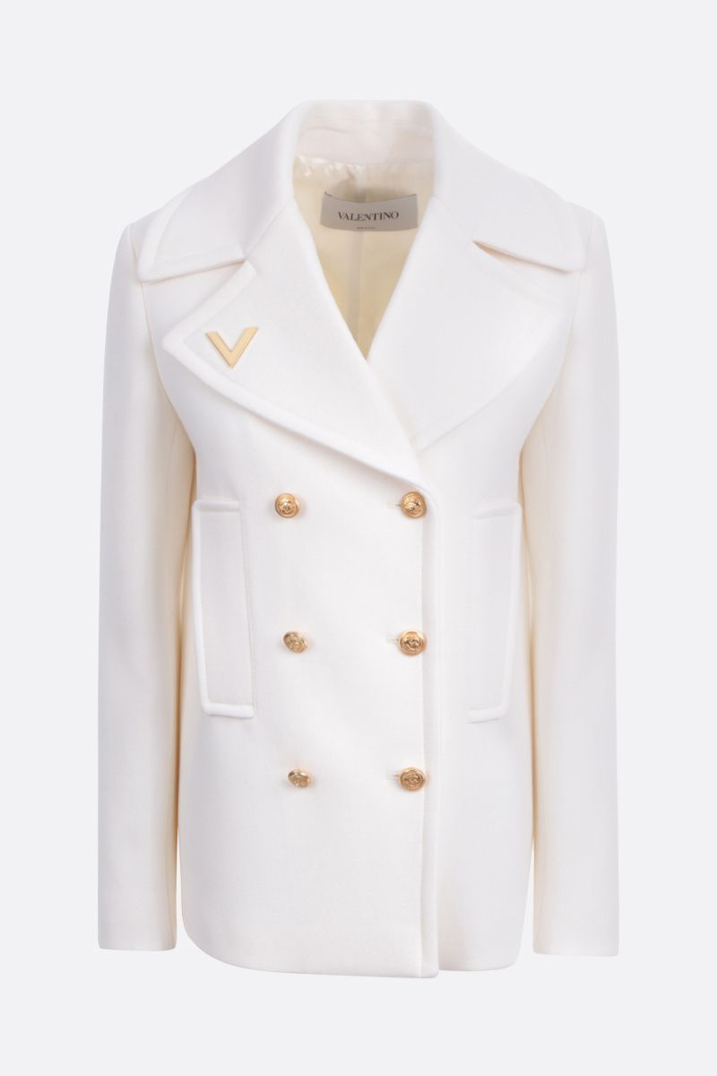 VALENTINO: V Gold-detailed wool double-breasted coat Color White_1