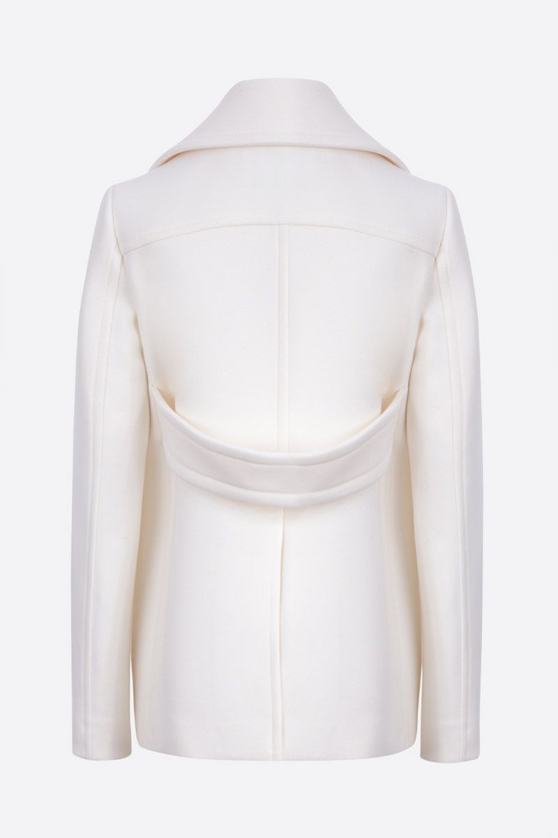 VALENTINO: V Gold-detailed wool double-breasted coat Color White_2