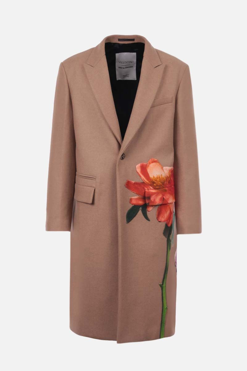 VALENTINO: Flowersity patch single-breasted camel wool coat Color Neutral_1