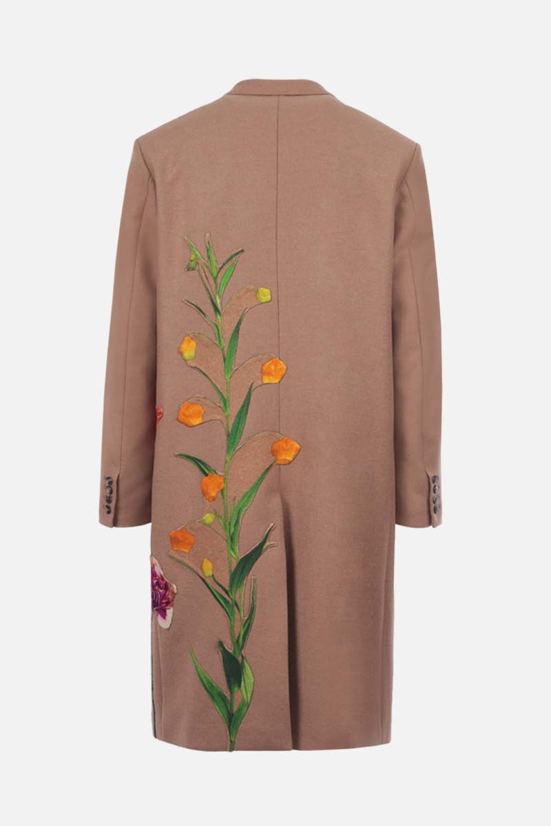 VALENTINO: Flowersity patch single-breasted camel wool coat Color Neutral_2