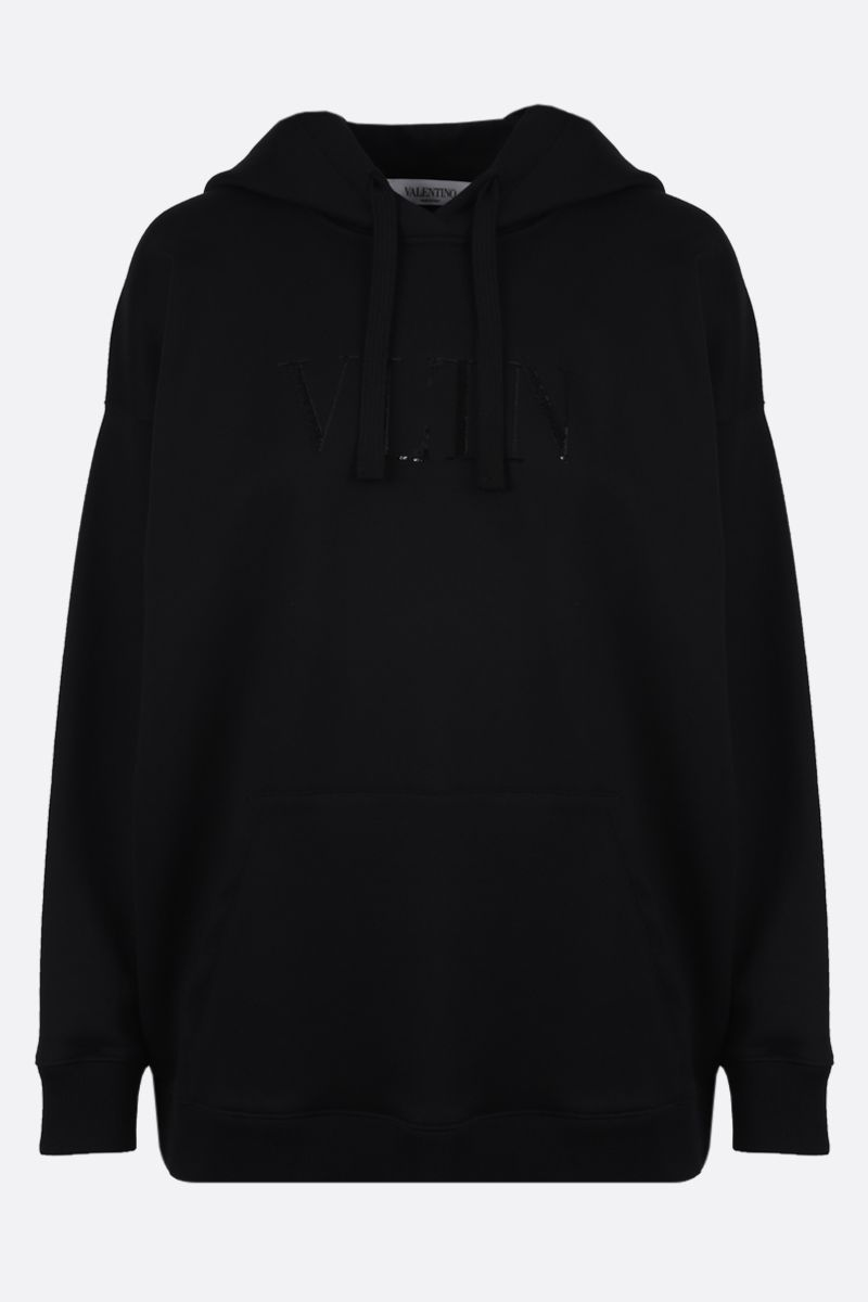 VALENTINO: VLTN cotton blend hoodie Color Black_1