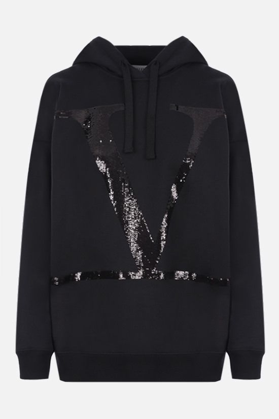 VALENTINO: VLOGO cotton blend hoodie Color Black_1