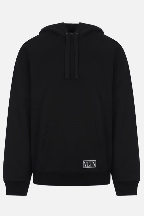 VALENTINO: VLTN tag technical jersey hoodie Color Black_1