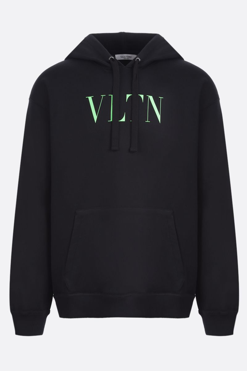 VALENTINO: VLTN stretch cotton hoodie Color Black_1