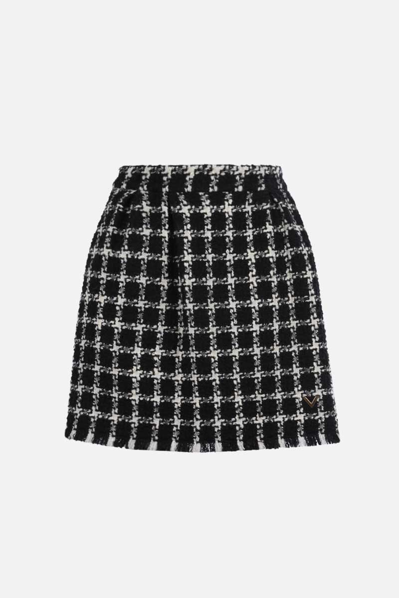 VALENTINO: check tweed A-line miniskirt Color Black_1