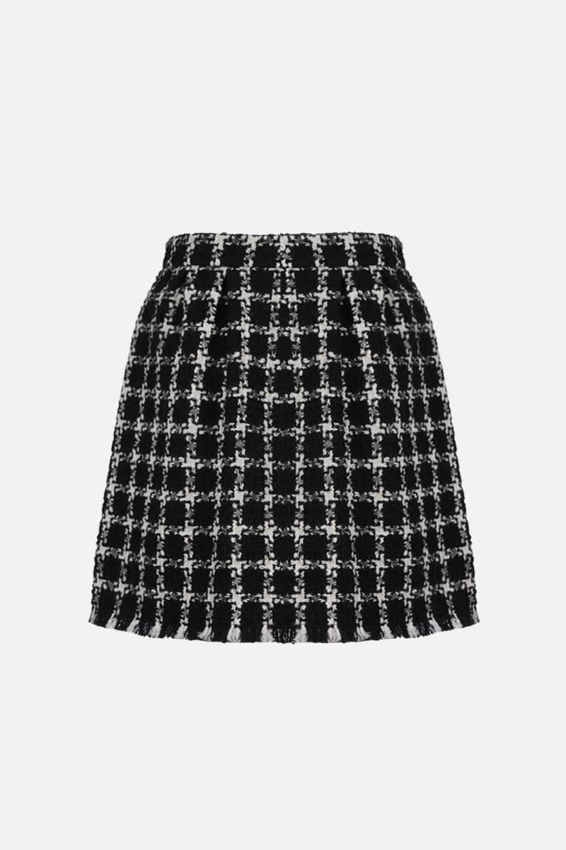 VALENTINO: check tweed A-line miniskirt Color Black_2