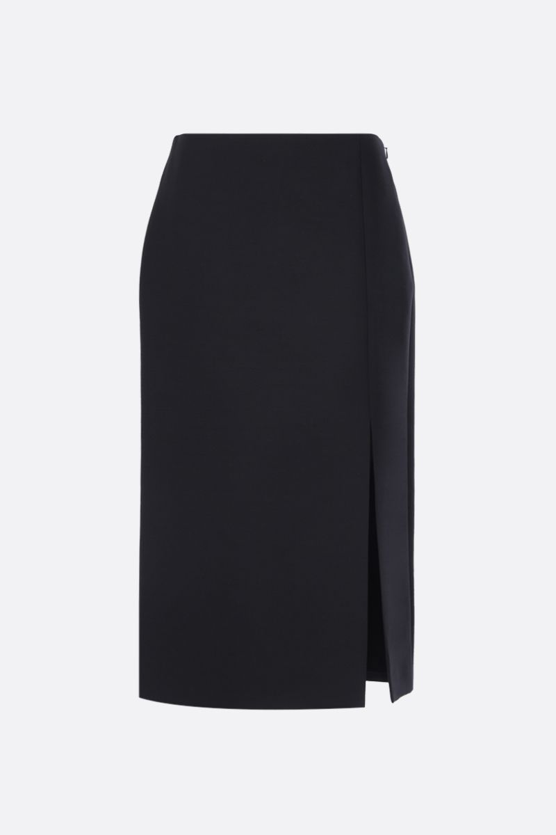 VALENTINO: gonna midi in Crepe Couture con spacco Colore Nero_1